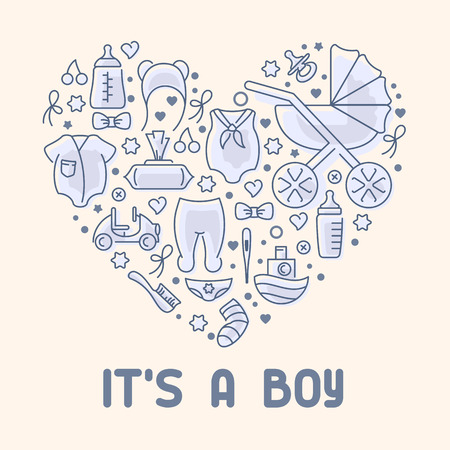Baby boy greeting card. It is a boy. Vector illustration