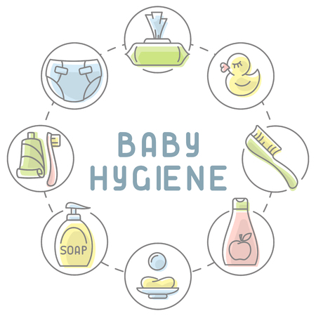 Baby hygiene products collection. Linear style vector illustration. Baby care accessories. Suitable for advertising. There is place for your text