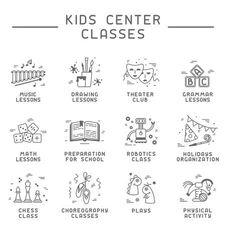 Colección de iconos de clases de centro para niños. Ilustración de vector de estilo lineal. Adecuado para sitio web o publicidad. Ilustración de vector