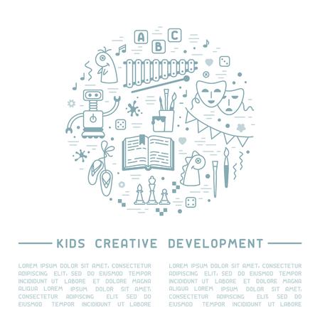 Cartel de información de desarrollo creativo para niños con cosas para niños y texto de muestra. Ilustración de vector de estilo lineal Ilustración de vector