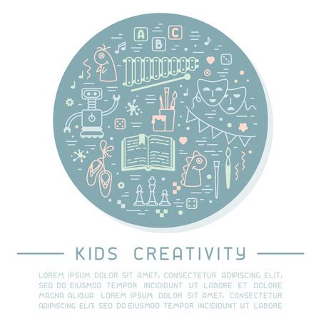 Cartel de información de creatividad para niños con cosas para niños y texto de muestra. Ilustración de vector de estilo lineal