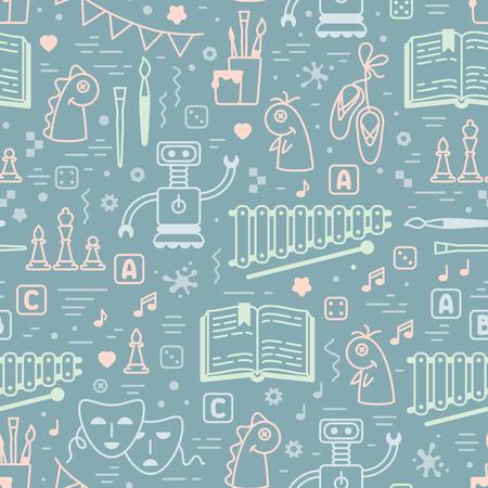 Patrón sin fisuras con cosas para niños. Ilustración de vector de estilo lineal. Adecuado para papel tapiz, envoltura o textil.