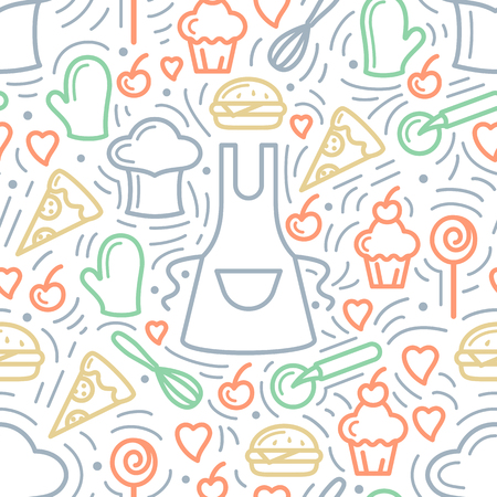 Seamless pattern with kitchen elements and meal. Linear style vector illustration. Suitable for wallpaper, wrapping or textile Illustration