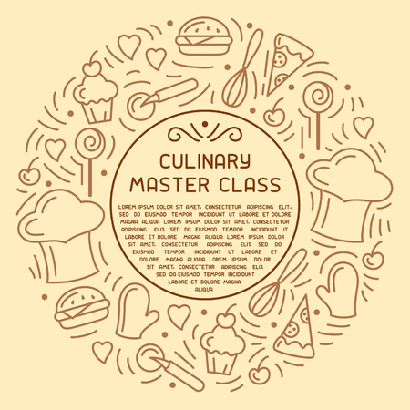 Round concept of culinary master class. Doodle style elements and sample text. Suitable for advertising, invitation, banner or card Illustration
