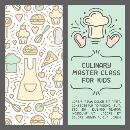 Booklet concept of culinary master class for kids. Doodle style elements and sample text. Suitable for advertising or invitation