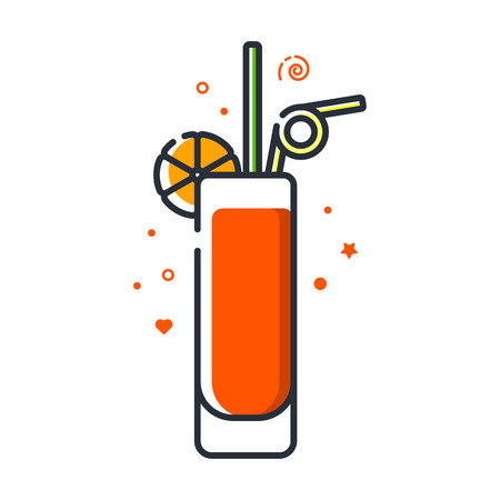 Vector icon of long island iced tea cocktail. Suitable for advertising, bar menu decor, application design