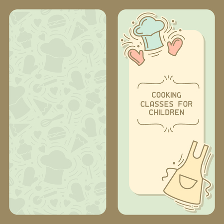Cooking classes for children card with vintage decor and text place. Doodle style vector illustration. Suitable for advertising, master class invitation or book design Ilustración de vector