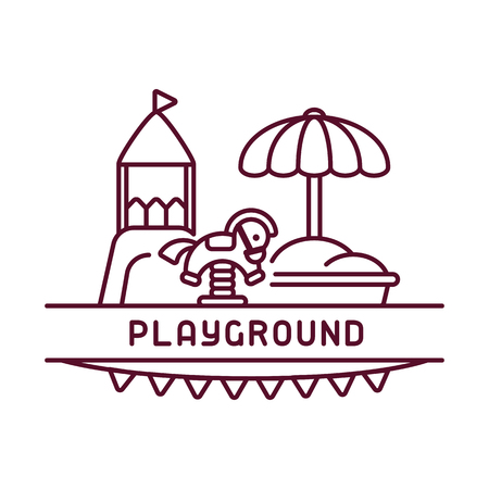 Playground kids card with simple linear elements. Contour style vector illustration