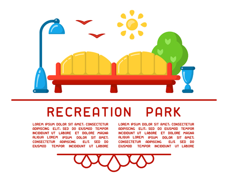Recreation park concept with bench, lamp and sample text. Flat style vector illustration. Suitable for advertising or information poster