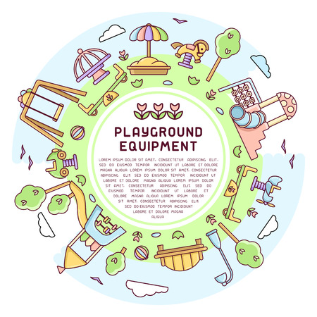 Round concept of kids playground with play elements and sample text. Cartoon style vector illustration. Suitable for advertising Illustration