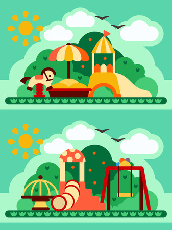 Bright flat two concepts of kids playground. Suitable for advertising or children book decoration