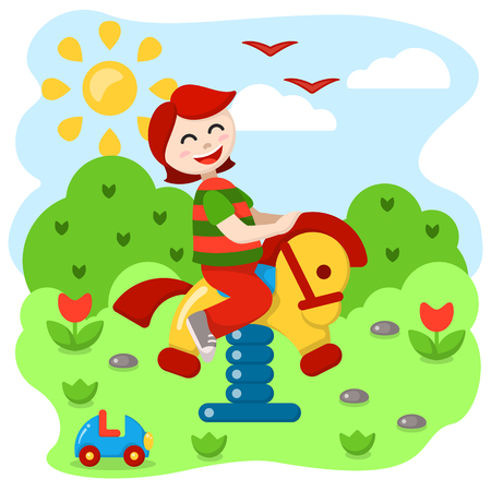 Child swinging on a seesaw. Flat style vector illustration. Suitable for children book decor Иллюстрация