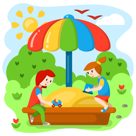 Children playing in the sandbox. Cartoon style vector illustration. Suitable for children book decor