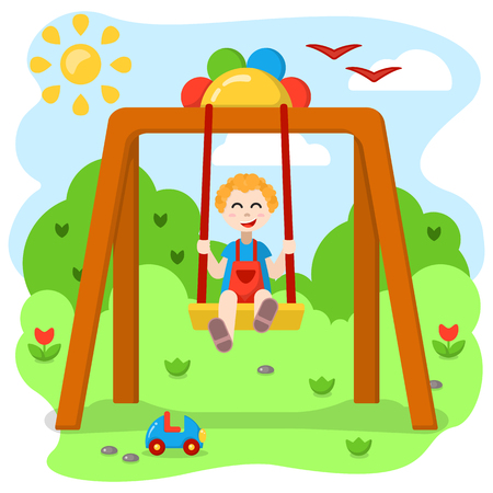 Boy swinging on a swing. Cartoon style vector illustration. Suitable for children book decor Imagens - 124890062