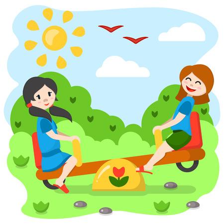 Girls swinging on a rocker. Cartoon style vector illustration. Suitable for children book decor