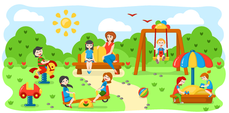 Concept with children on the playground. Flat style vector illustration