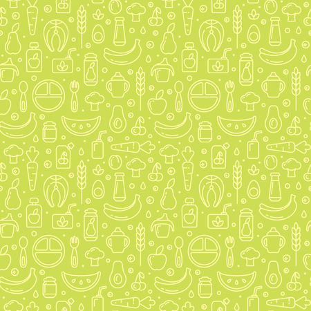 Baby food items seamless pattern in contour style. Suitable for wallpaper, wrapping or textile