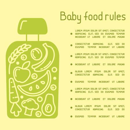Concept d'affiche de règles de nourriture pour bébé. Il y a de la place pour votre texte. Convient pour la publicité Vecteurs