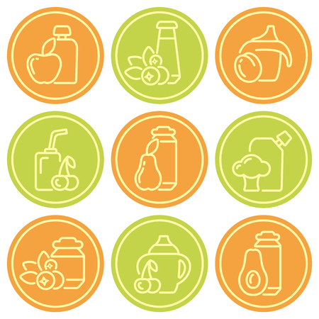 Baby food contour icons set. Suitaible for web or advertising