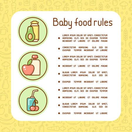 Concept of baby food rules bright information poster with sample text