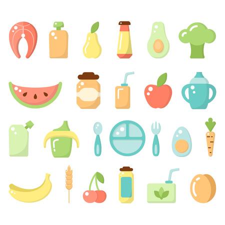 Ensemble d'icônes de nourriture pour bébé. Illustration vectorielle de style plat. Convient pour le Web