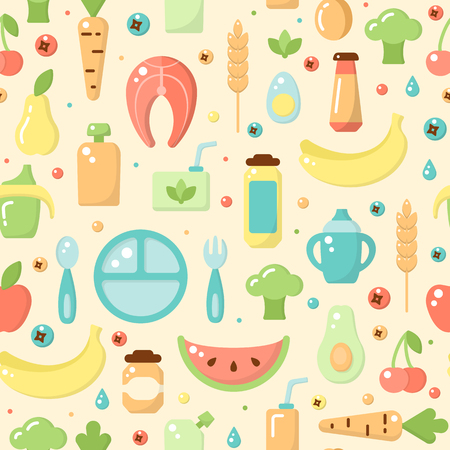 Seamless pattern with children food objects. Flat style vector illustration. Suitable for wallpaper, wrapping or textile