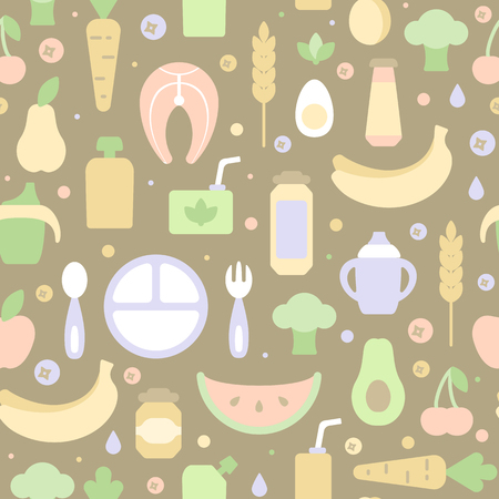 Seamless pattern with children food orderly elements. Flat style vector illustration. Suitable for wallpaper, wrapping or textile