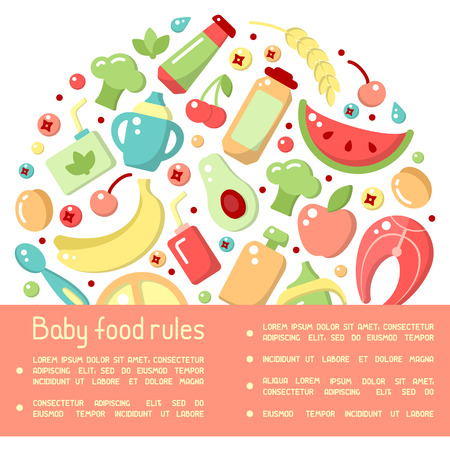 Information poster concept with baby food rules and signs. Flat style vector illustration 일러스트