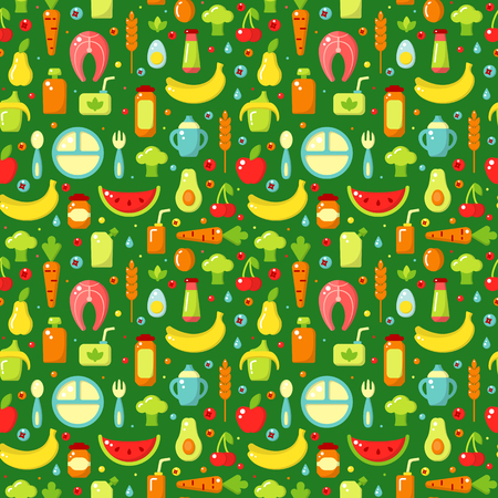 Seamless pattern with children food signs. Flat style vector illustration. Suitable for wallpaper, wrapping or textile 일러스트
