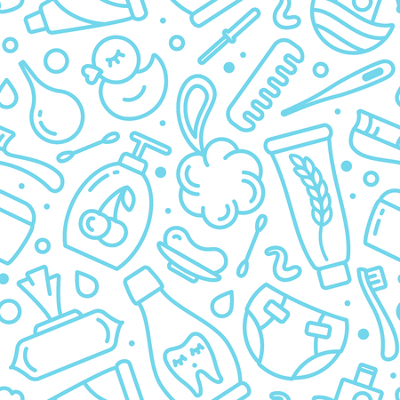Seamless pattern with baby hygiene accessories. Contour style vector illustration. Suitable for wallpaper, wrapping or textile