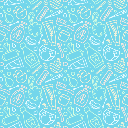 Seamless pattern with baby hygiene elements. Contour style vector illustration. Suitable for wallpaper, wrapping or textile Stock Illustratie