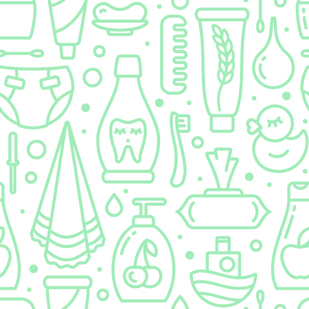 Ordered seamless pattern with baby hygiene elements. Contour style vector illustration. Suitable for wallpaper, wrapping or textile Stock Illustratie