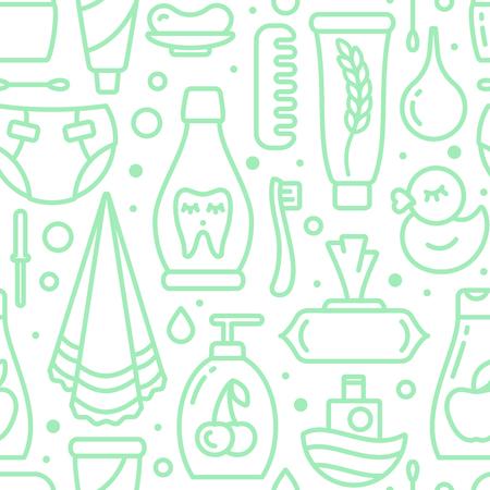 Pedido de patrones sin fisuras con elementos de higiene del bebé. Ilustración de vector de estilo de contorno. Adecuado para papel tapiz, envoltura o textil. Ilustración de vector