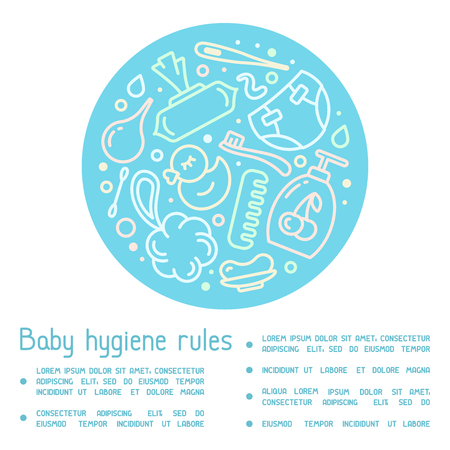 Information poster concept with baby hygiene accessories and sample text. Linear style vector illustration Stock Illustratie