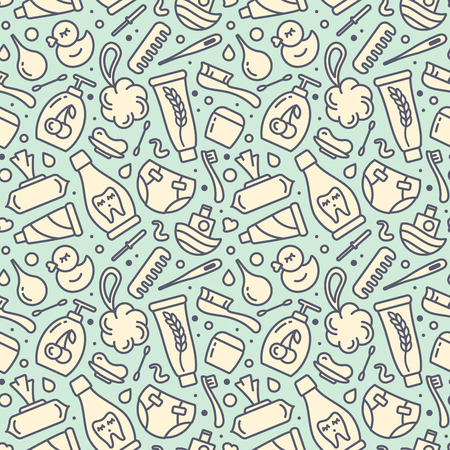 Seamless pattern with baby hygiene elements. Suitable for wallpaper, wrapping or textile