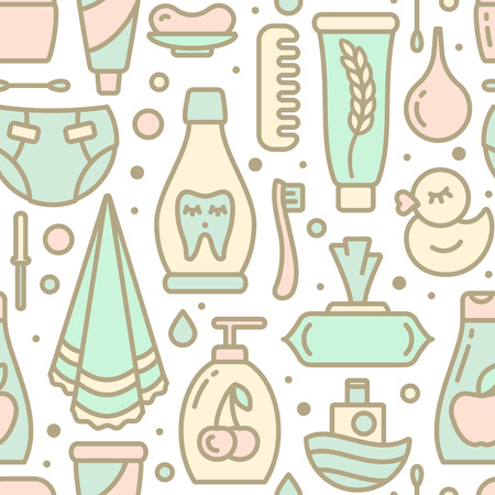 Ordered seamless pattern with baby hygiene elements. Suitable for wallpaper, wrapping or textile