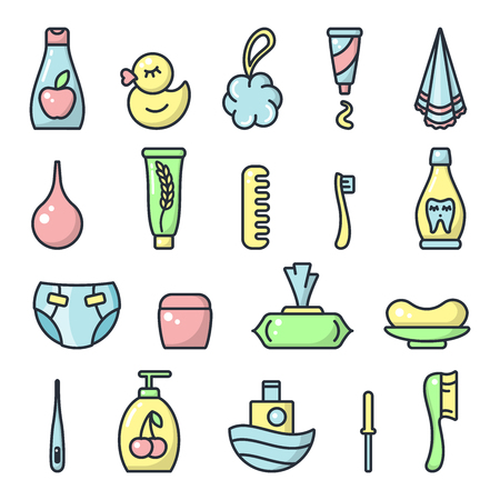 Icons set of baby hygiene accessories. Cartoon style vector illustration