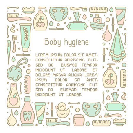 Square frame concept with baby hygiene accessories and sample text on white background