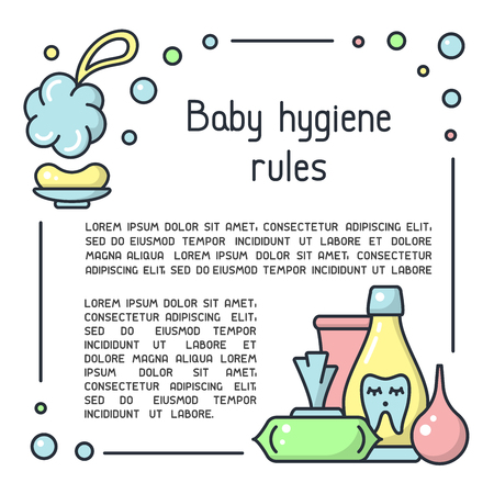 Baby hygiene rules poster with hygiene accessories and sample text. Cartoon style vector illustration