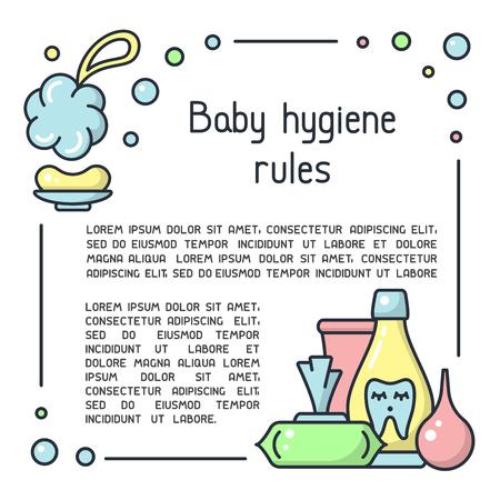 Babyhygieneregelplakat mit Hygienezubehör und Beispieltext. Cartoon-Stil-Vektor-Illustration