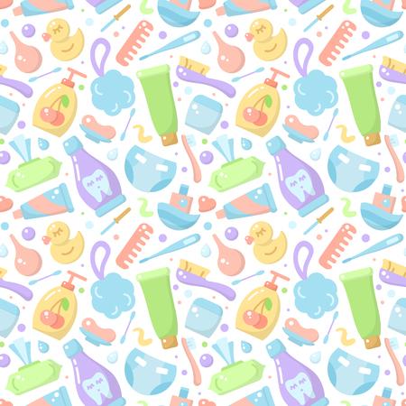 Nahtloses Muster mit Babyhygieneelementen im flachen Stil. Geeignet für Tapeten, Verpackungen oder Textilien Vektorgrafik