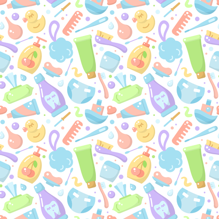 Seamless pattern with baby hygiene elements in flat style. Suitable for wallpaper, wrapping or textile