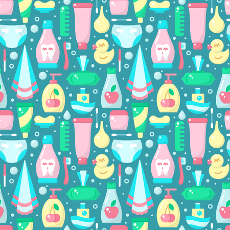 Ordered seamless pattern with baby hygiene accessories in flat style. Suitable for wallpaper, wrapping or textile