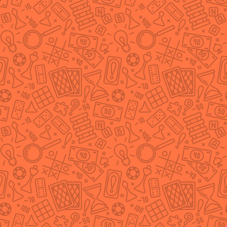 Seamless pattern with board game attributes in linear style. Suitable for wallpaper, wrapping or textile Illustration
