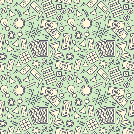 Seamless pattern with board game elements. Suitable for wallpaper, wrapping or textile