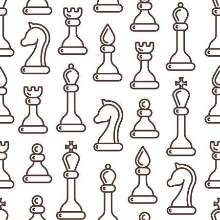 Seamless pattern with ordered chessmen in linear style. Suitable for wallpaper, wrapping or textile