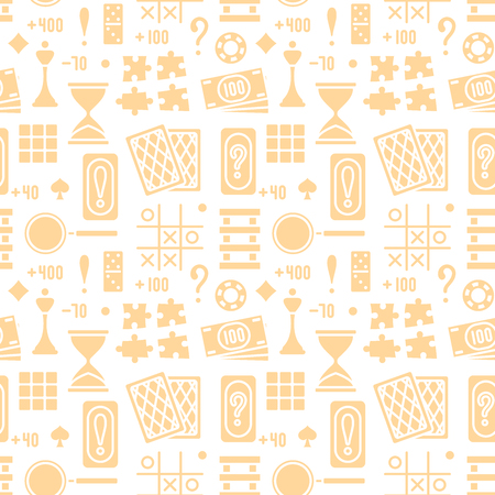 Seamless pattern with flat style board game attributes on white background. Suitable for wallpaper, wrapping or textile