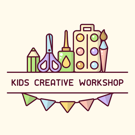 Creative workshop for children logo. Cartoon style vector illustration. Suitable for advertisement or placard decor