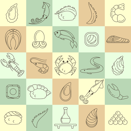 Icons set of seafood and asian cuisine. Linear style vector illustration. Suitable for advertising or cafe menu decoration