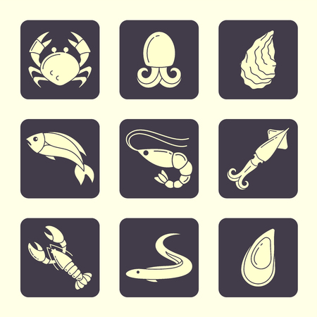 Icons set of seafood in flat style. Suitable for advertising or cafe menu decoration